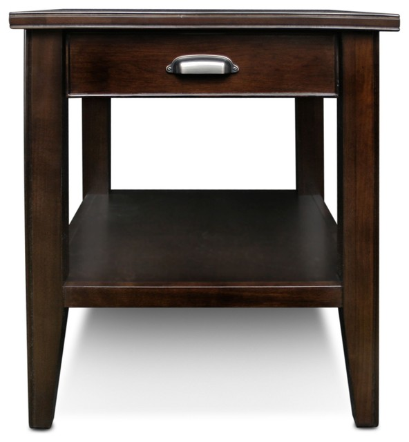 Leick Furniture Laurent Chocolate Cherry Drawer End Table.