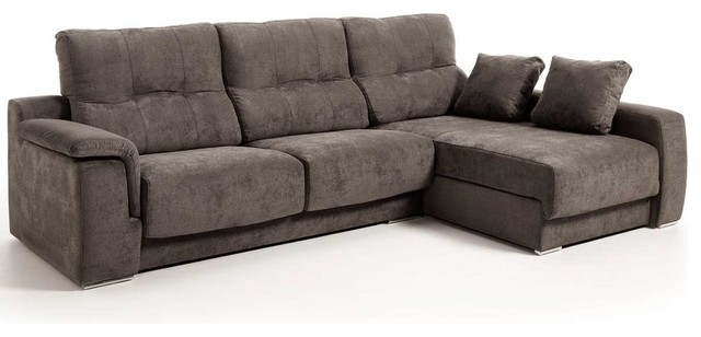 Air Modern Fabric Sectional Sofa, Brown, Right Facing Chaise ...
