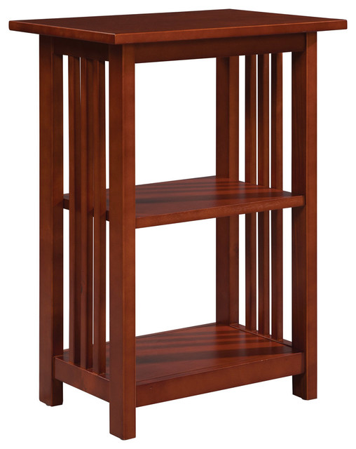Alaterre Mission 2 Shelf End Table, Cherry