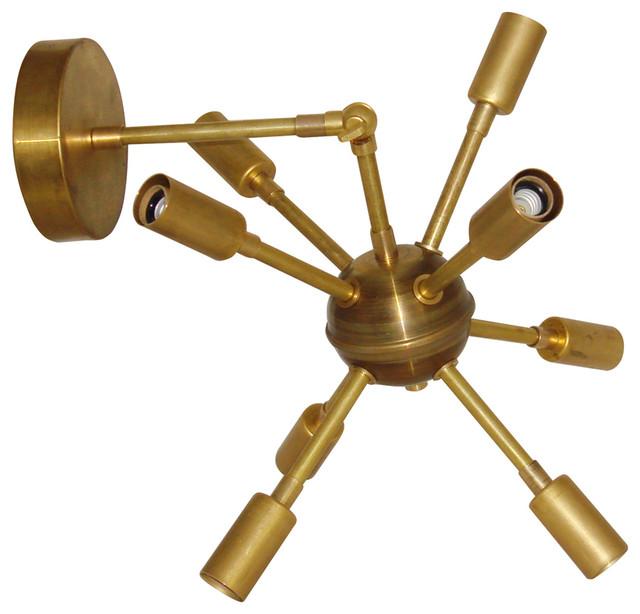 Raw Brass Mid Century Modern Sputnik Starburst Articulating Sconce