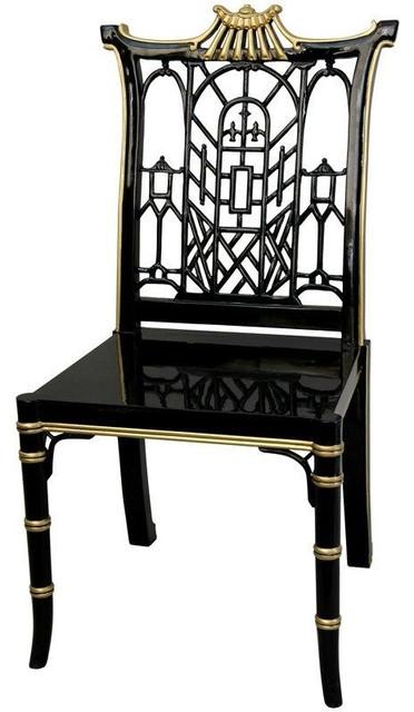 Attractive Black Lacquer Pagoda Chair