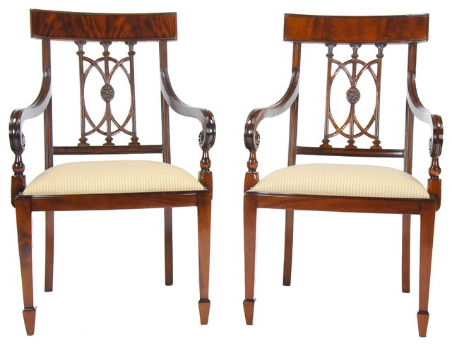 Mahogany Hepplewhite Arm Chairs Set Of 2 Traditional Dining By Niagara Furniture