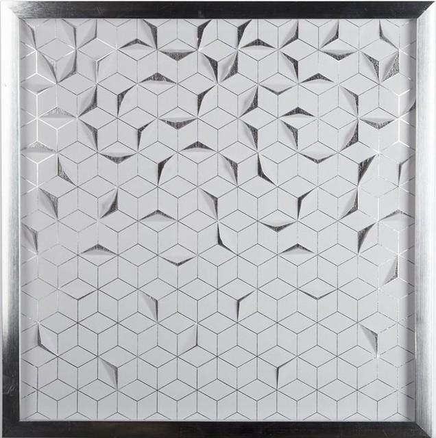 Metallic Silver Origami Framed Wall Art, 50x50 cm - Asian - Prints ...