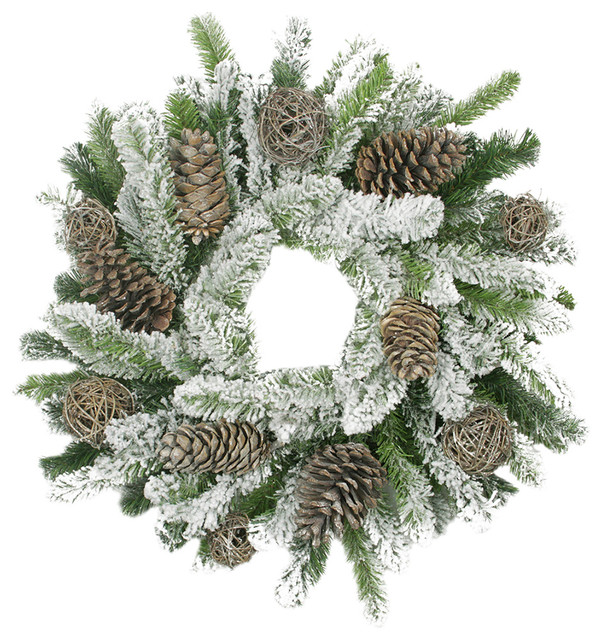 """24"""" Flocked Pine Cone And Twig Ball Artificial Christmas Wreath, Unlit."""