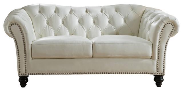 Bonnie Leather Loveseat Sofa Ivory White