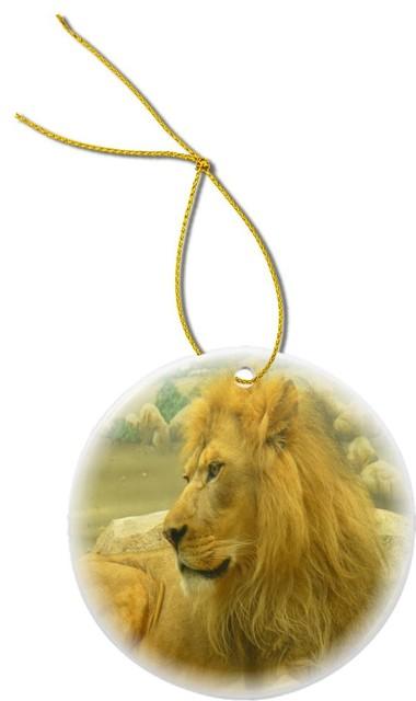 Beautiful Lion King Close Up Design Round Porcelain Christmas Ornament