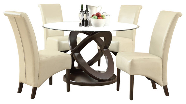 Monarch Specialties 1749 1777TP 5 Piece Round Dining Room Set In Dark  Espresso
