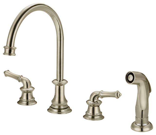 Two Handle Kitchen Widespread Faucet With Spray Polished