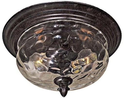 2-Light Flush Mount In Corona Bronze Finish With Clear Hammered Glass.