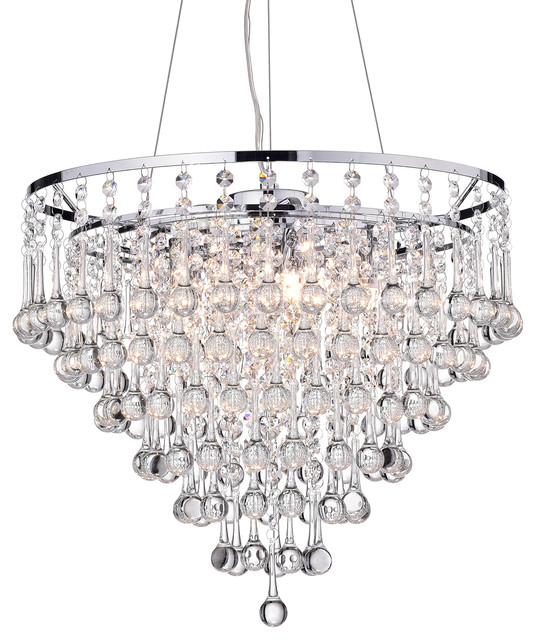 Kailee 5-Light Cascading Crystal Chandelier Chrome Finish Ceiling Fixture