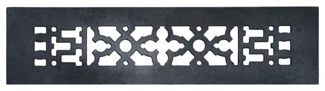 "Decorative Cast Iron Grille, Without Holes, 12""x2.25""."