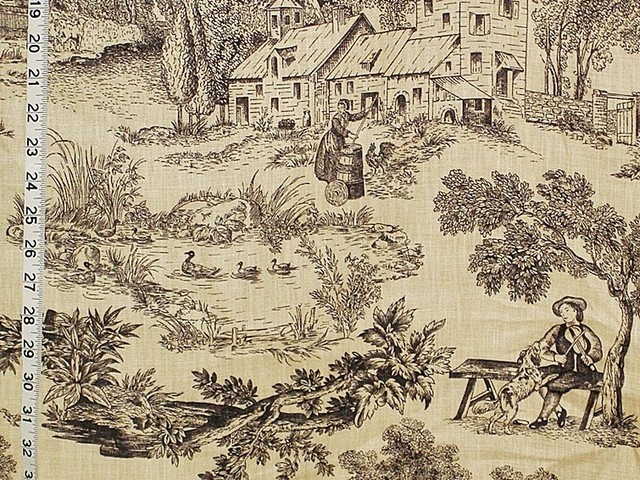 French Farm Toile Fabric Tan Black Toile Dog Fiddle