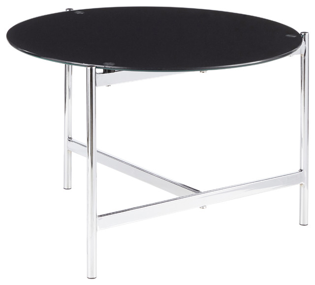 Chloe Contemporary Coffee Table, Chrome, Black Painted Glass