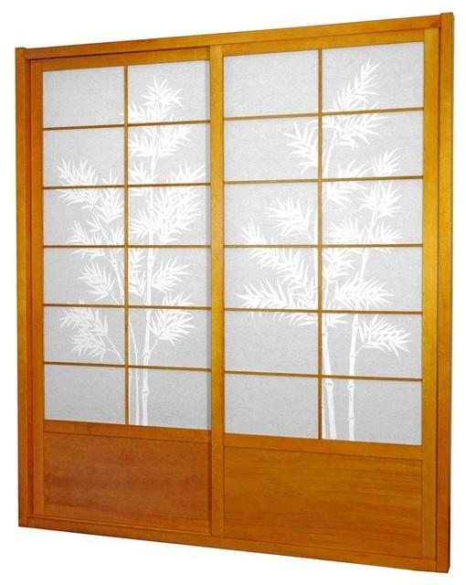 7&x27; Tall Bamboo Tree Shoji Sliding Door Kit, Honey.