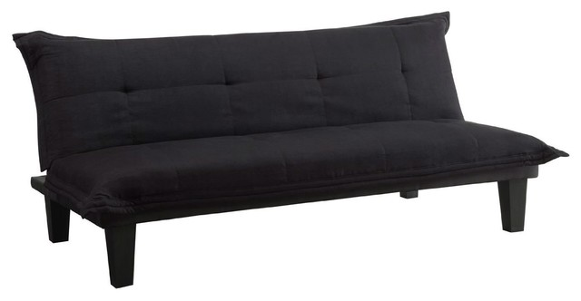 Black Microfiber Click Clack Sleeper Sofa Bed Futon Lounger Transitional Futons By Hilton Furnitures