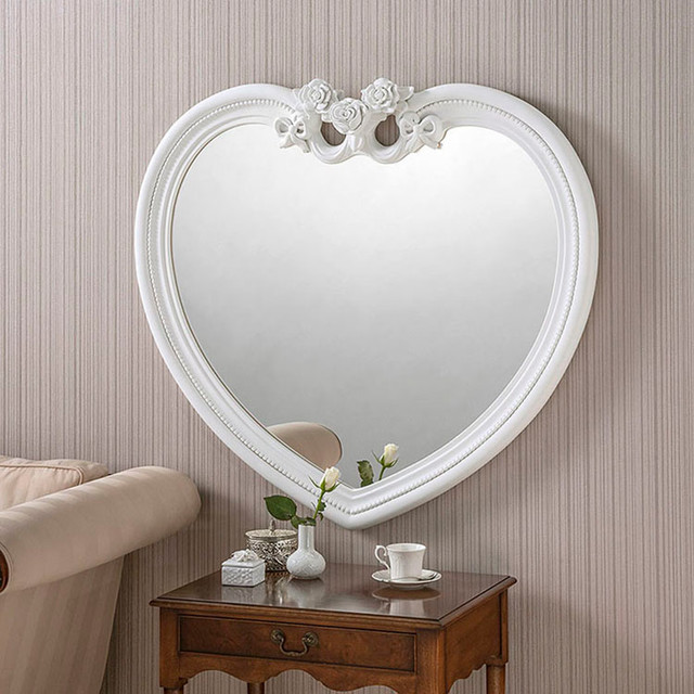White heart shaped mirror wall mirrors by exclusive for Decorative wall mirrors for bedroom