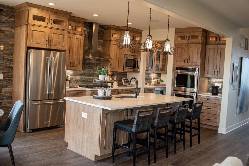 Inspiration for a rustic home design remodel in Denver