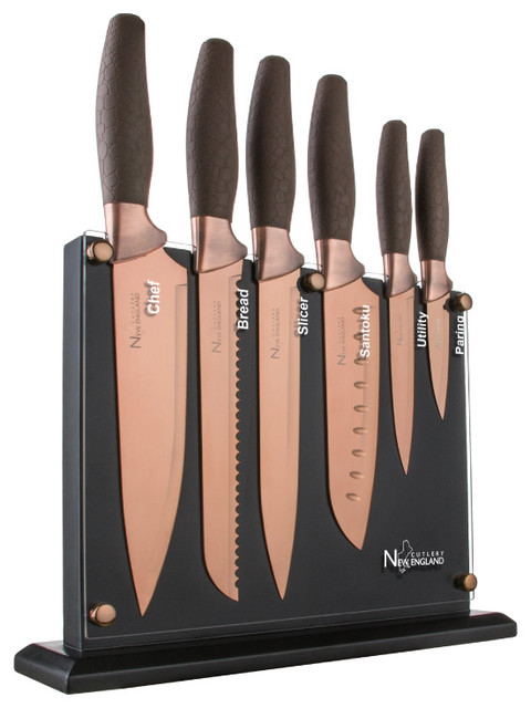 7 Piece Titanium Coated Knife Block Set Contemporary Knife Sets