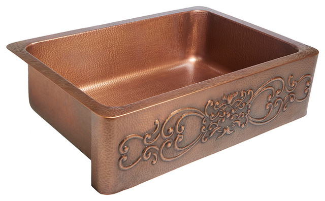 "Ganku 33"" Farmhouse Copper Kitchen Sink With Scroll, Antique Copper"