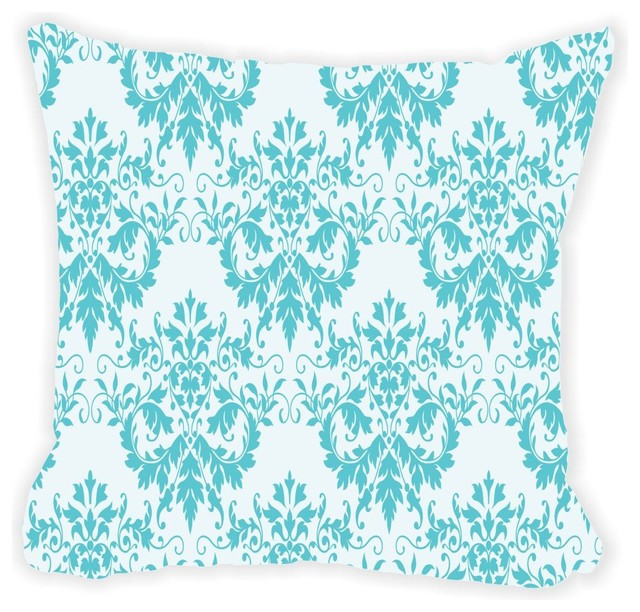 Shabby Chic Blue Damask Microfiber Throw Pillow - Contemporary - Decorative Pillows - by Rikki ...