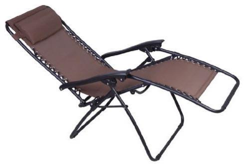 Brown Outdoor Zero Gravity Patio Recliner Lounge Chair