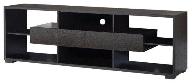 Elegant Tv Stand With Shelves And Drawers, Black.