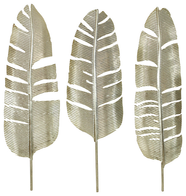 45abe1a930 Roxbury Gold Leaf Wall Decor (Set of 3) - Tropical - Metal Wall Art - by  Aspire Home Accents, Inc.