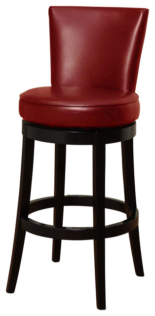 Garfield Leather Bar Stool, Red.