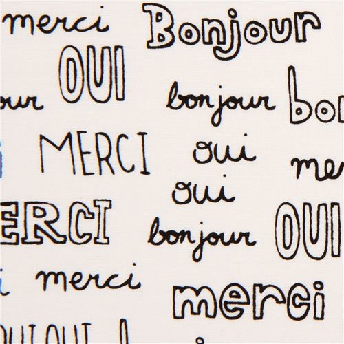 White French Words Fabric By Robert Kaufman Usa Fabric