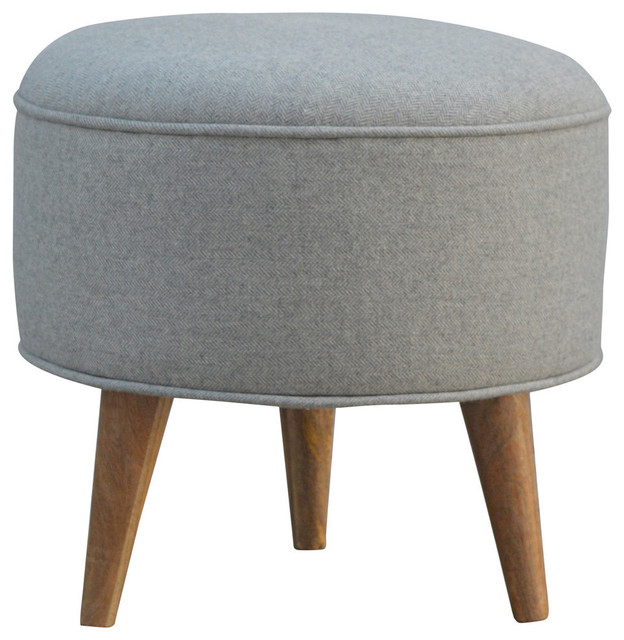 Round Footstool, Oak Finish Mango Wood