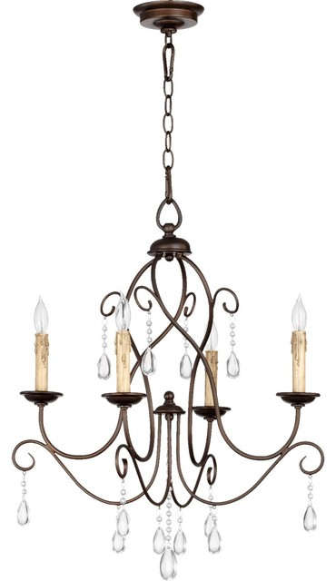 "Quorum Cilia 4-LT 22"" Chandelier 6116-4-86 - Oiled Bronze"