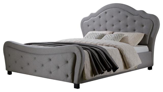 Upholstered Platform Bed, Gray, Queen.