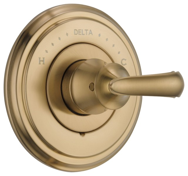 Delta Cassidy Champagne Bronze Scroll Lever Shower Control