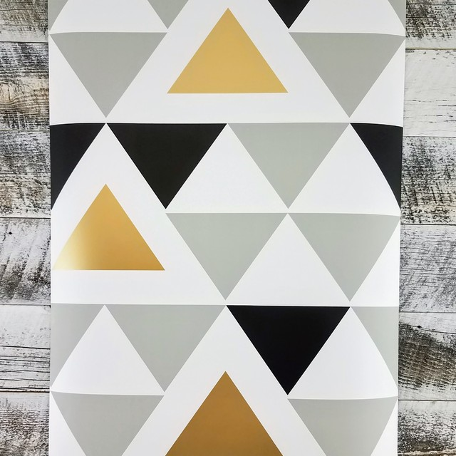 Aztec Black And Gold Geometric Triangle Peel And Stick Wallpaper Sample