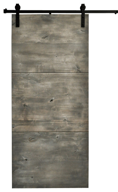 Rustic Wood Interior Doors dogberry modern slab sliding barn door - rustic - interior doors