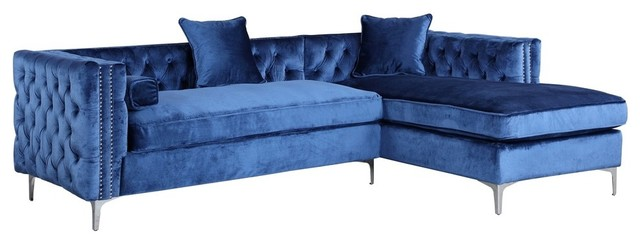 navy blue sectional sofa bed velvet for sale ikea button tufted right facing transitional