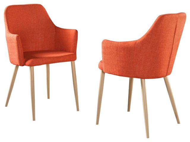 Serra Mid Century Fabric Dining Chairs, Set Of 2, Muted Orange, Light Brown.