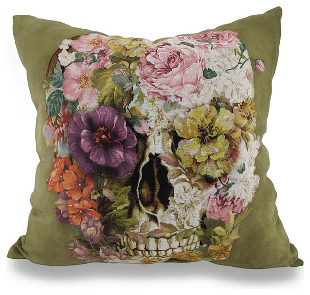 Indoor/Outdoor Spring Floral Skull Decorative Throw Pillow 18 ...