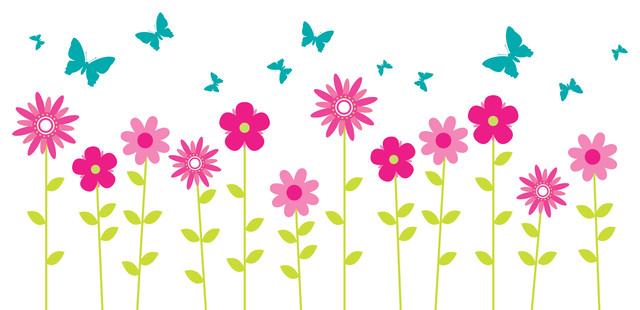 Flower Wall Decals, Floral Wall Decor, Butterfly Wall Decals, Wall Flower  Decal contemporary