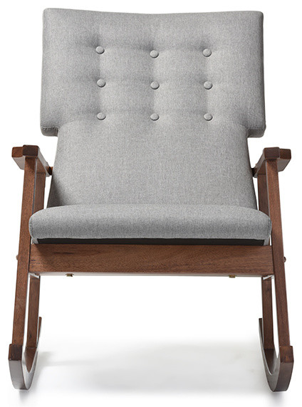 Agatha Fabric Upholstered Button Tufted Rocking Chair, Gray