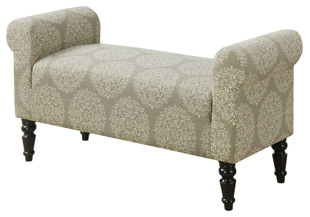 Bench, Traditional-Style Taupe Fabric.
