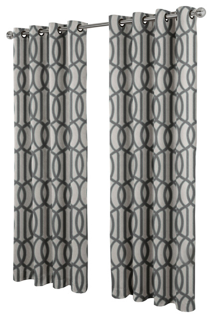 Trincity Grommet Top Window Curtain Panels, Steel Blue, Set Of 2/pair Panels.