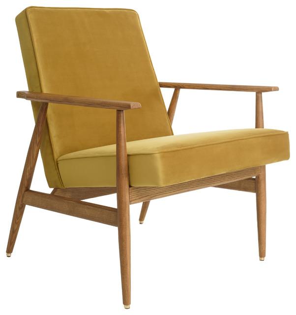 Fox Shine Velvet Lounge Chair, Mustard Yellow