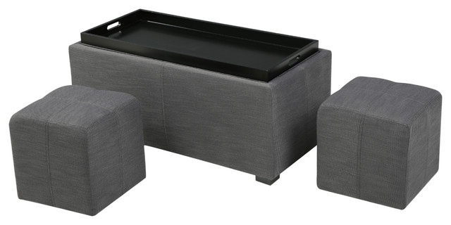 August 3-Piece Fabric Storage Ottoman Set, Gray contemporary-footstools-and- - August Gray 3-Piece Fabric Tray Top Nested Storage Ottoman Bench