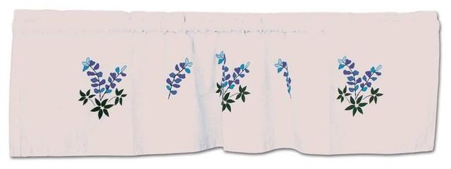 "Blue Bonnets Curtain Valance 54""x16""."