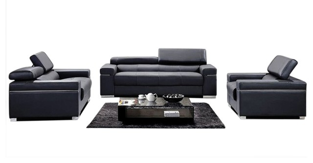 Soho Leather Sofa Set Black
