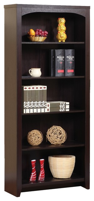 Red Cocoa, Dark Espresso, 5-Tier Bookcase, Red Cocoa by Smart Home