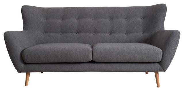Cooper Retro-Scandinavian Sofa, Dark Grey, 3-Seater