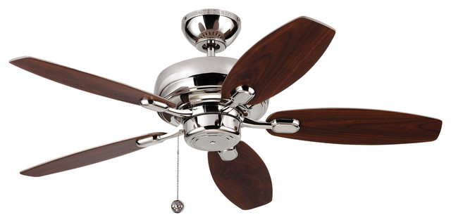 "Monte Carlo Fans 44"" Centro Max Ii Silver Ceiling Fan, Polished Nickel."