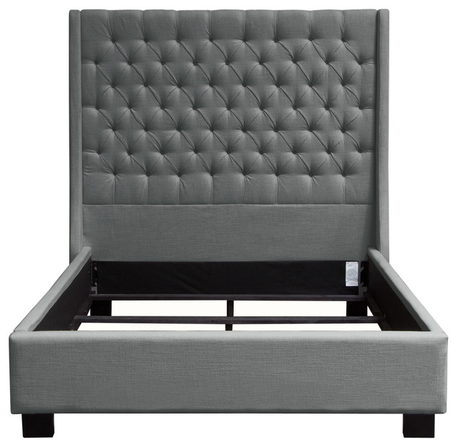 Arlow Tufted Linen Bed, Gray, Eastern King.